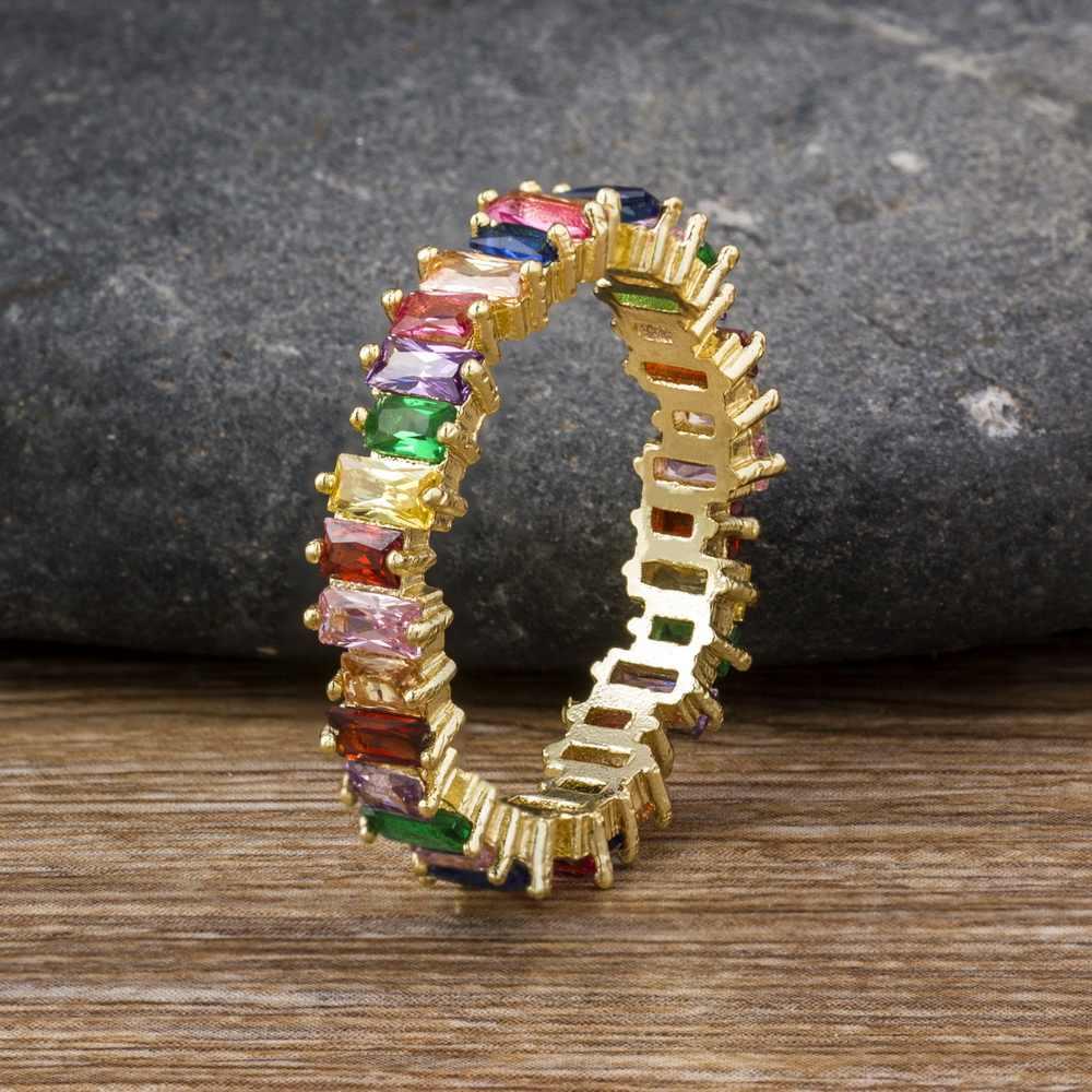 ขายร้อนคลาสสิกสายรุ้ง CZ แหวนทองแฟชั่นผู้หญิงแหวนหมั้น Charm เครื่องประดับของขวัญ