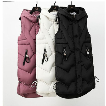 Spring Autumn 2021 Women Vest Cotton Waistcoat Plus Size 3XL Long Section New Slim Padded Coat Student Cloghing 1