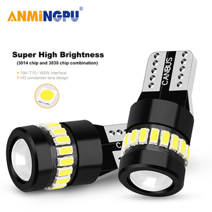 ANMINGPU 2X Signal Lamp T10 Led W5W 18SMD 3014 Chips W5W 168 194 White Auto Lamp Led Clearance Lights Reading Light Dome Light