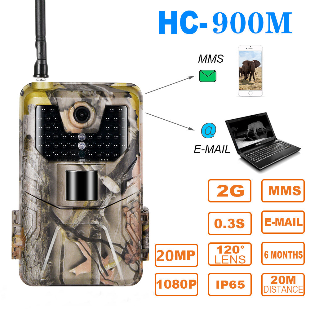 20MP 1080P  2G SMS MMS SMTP Wildlife Trail Camera Photo Traps Night Vision  Email  Cellular Hunting Outdoor Camera  Surveillance