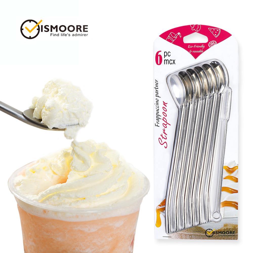 Drinking Spoon Straws  Reusable Metal Stainless Steel Straw Spoon Stirrer with Cleaning Brush for Milkshake  Smoothies  Set of 6|  - title=