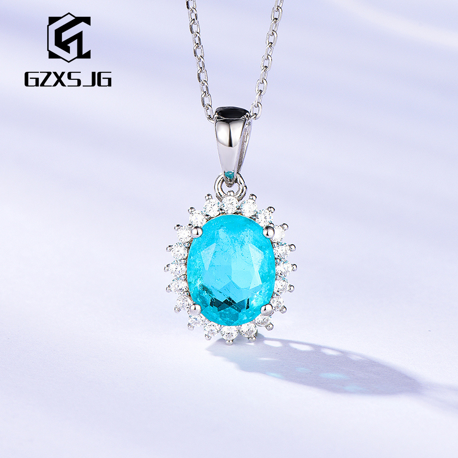 GZXSJG Paraiba Tourmaline Gemstones Necklace For Women Solid 925 Sterling Silver Pendant For For Women Valentines Day Gifts 2020
