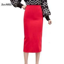 SEXMKL размера плюс красные юбки карандаш женские весна лето до середины икры черная Офисная Женская юбка элегантная Высокая талия длинная юбка Jupe