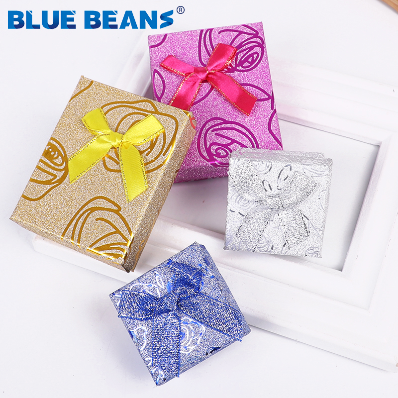 Square Ring For Earrings Necklace Bracelet Jewelry Box Shiny Rose Pattern Box Shape Bow Paper Box Engagement Gift Wholesale