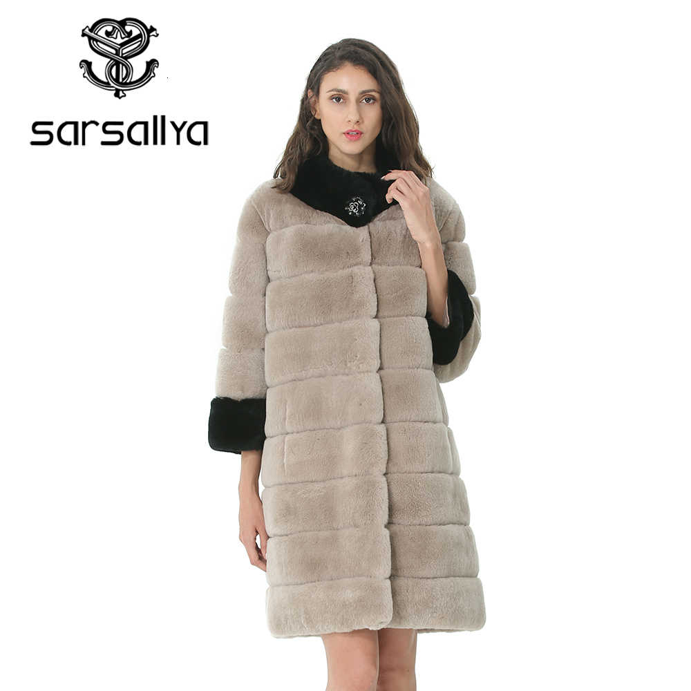 Real Rabbit Fur Coat Winter Women Coats Natural Fur Female Genuine Rex Rabbit Fur Jacket Pockets Warm Thick Clothes High Quality
