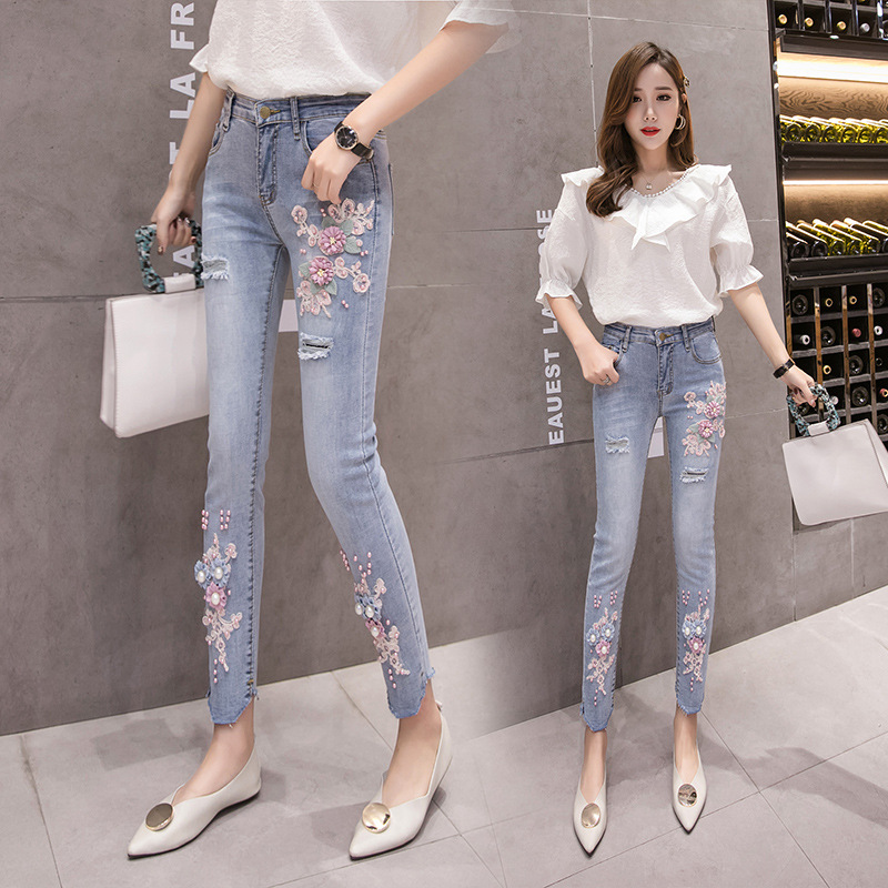 Photo Shoot 2019 Spring And Summer New Style WOMEN'S Pants Flower Beads Embroidered Elasticity Leggings Skinny Jeans Capri Pants