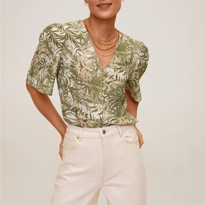 Za 2020 Tropical Print Summer Shirt Women Short Sleeve Top Front Section Button Fastening Shirts Flowy Elegant Blouse Woman