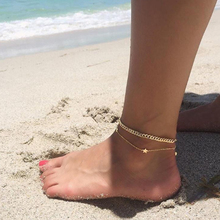 Summer Style New MultiLayer Star Pendant Anklet Foot Chain Gold/Silver Color Geometric Anklets barefoot sandals Jewelry