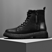 Vintage Men Boots Genuine Leather Side Zipper Ankle Boots Men's Shoes Casual Leather Shoes Man Outdoor Comfortable Luxury Boots