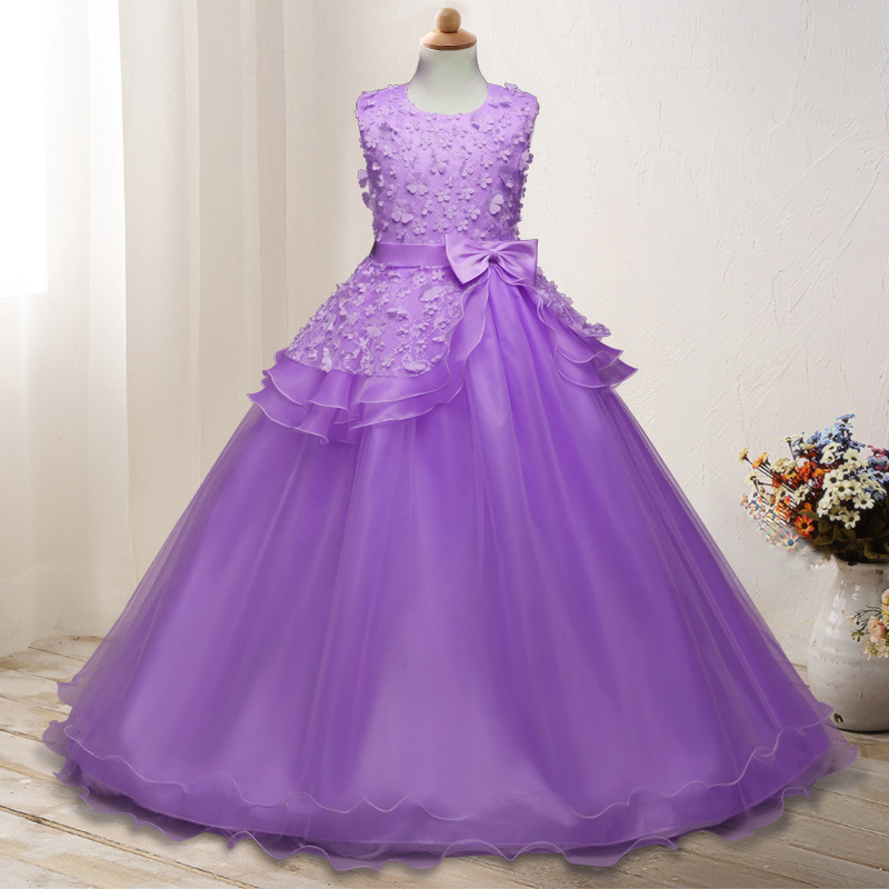 Hot Selling Children's Embroidered Gown Bow Dress Big Boy Princess Dress Children's Clothing