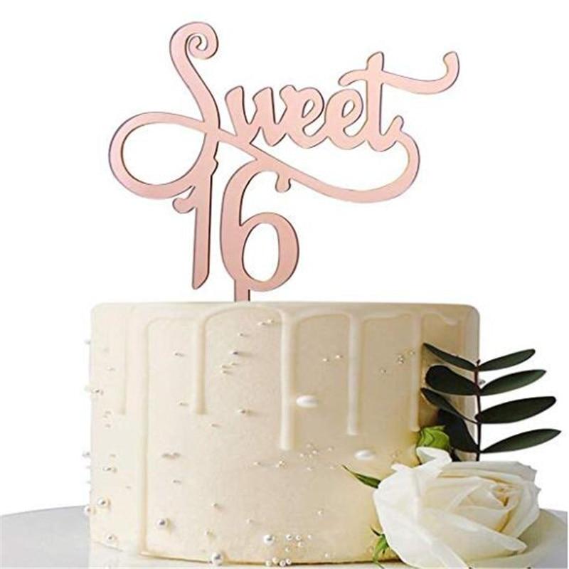 Superb Mirror Rose Gold Sweet 16 Cake Topper 16Th Birthday Cake Topper Personalised Birthday Cards Epsylily Jamesorg