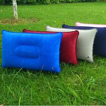 Travesseiro de dormir dobrável para viagem, portátil, uso ao ar livre, acampamento, barraca, travesseiro inflável, avião, hotel, descanso, almofada de dormir confortável