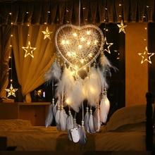 Светодиодный светильник «Ловец снов» с перьями, ночсветильник «Ловец снов» с любовным сердцем, настенное украшение для дома вечерние ринки...