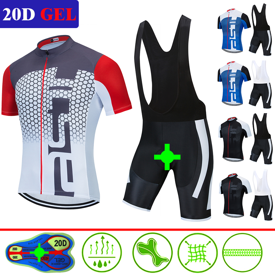 2020 Pro Team Cycling Jerseys Bike Wear Clothes Quick-Dry Bib Gel Sets Clothing Ropa Ciclismo Uniformes Maillot 20D Gel Pad