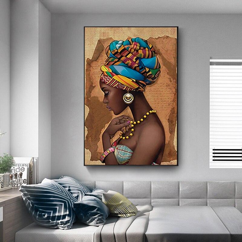 Черные женские изображения с ручной росписью современный семейный Декор Гостиная Декор настенный плакат