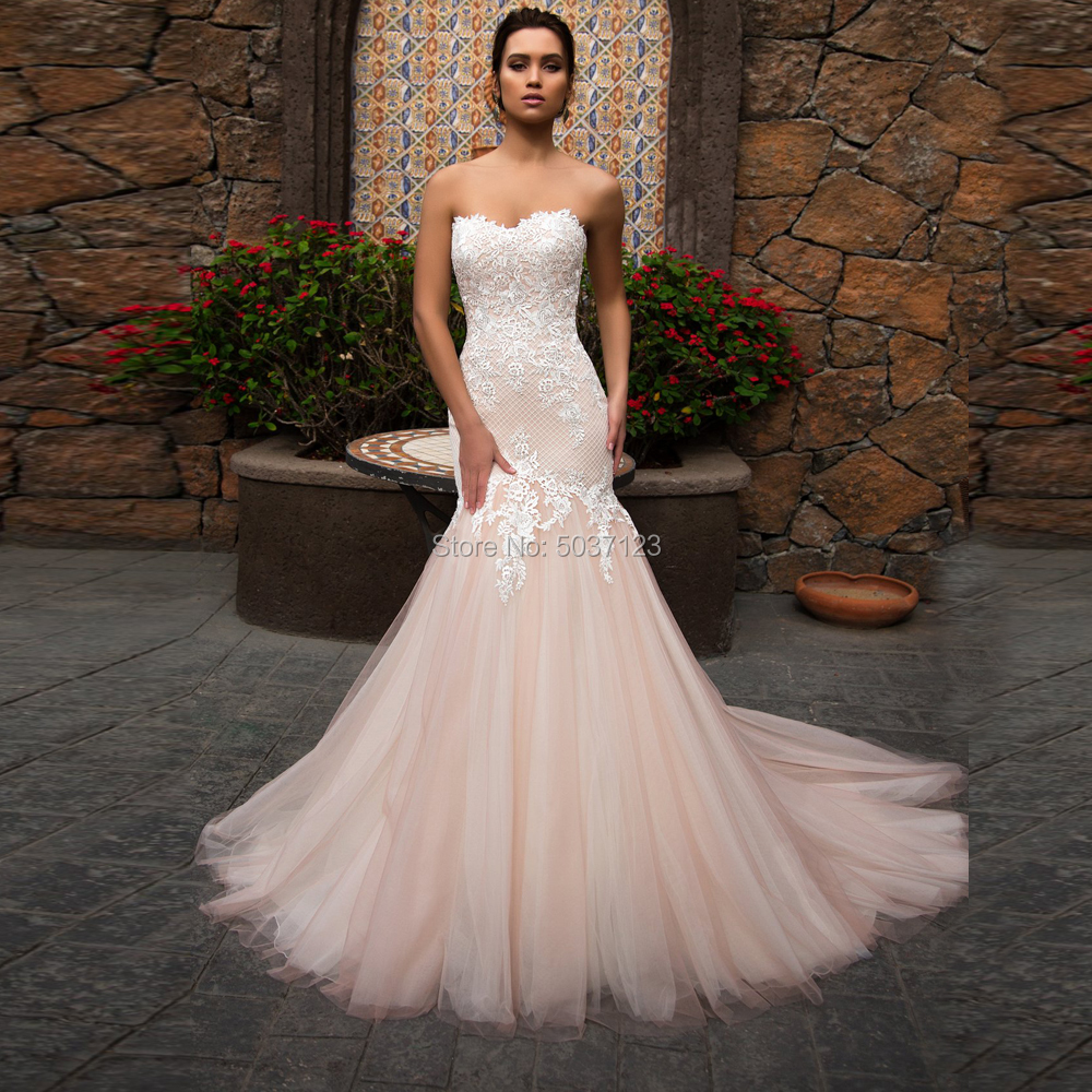 Pink Mermaid Wedding Dresses Sweetheart Strapless Tulle And Lace With Appliques Bridal Gowns Vestido De Noiva Sweep Train