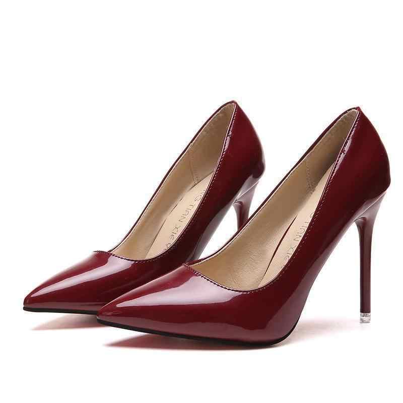 2019 Caldi Delle Donne Scarpe a Punta Pompe di Brevetto di Vestito di Cuoio Degli Alti Talloni di Scarpe da Barca Scarpe da Sposa Zapatos Mujer Blu Bianco