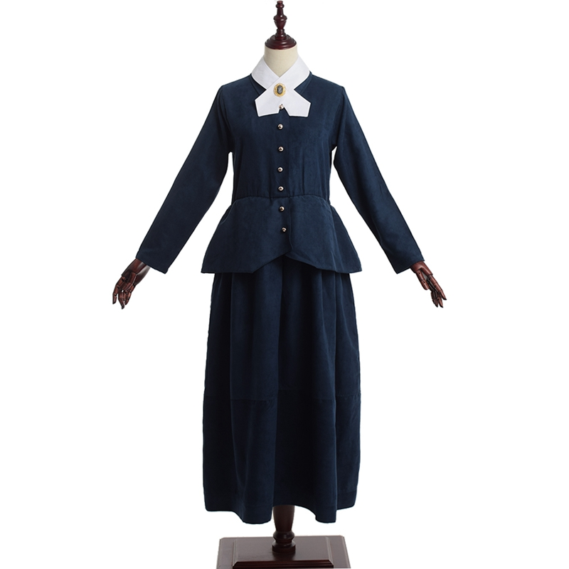 Civil War Victorian Colonial Dress Adult Women Vintage Olden Day School Project Lady Marie Curie Cosplay Blue Historical Costume image