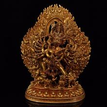ibet antique buddha meditation thangka silk brocade tibetan buddha Nepal Copper Handmade Buddha Statue Top Craftmanship Tibetan Gilt Gold Vajra-warrior of Great Superb Power Buddha sculpture deco