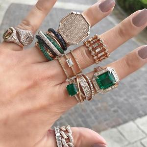 Image 3 - GODKI 2019 Trendy Square Geometry Cubic Zircon Stacks Rings for Women Finger Rings Beads Charm Ring Bohemian Beach Jewelry 2019