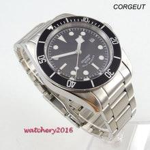 41mm Corgeut 블랙 다이얼 축광 날짜 배치 걸쇠 SS 밴드 브랜드 사파이어 Miyota 자동식 기계식 남성용 시계