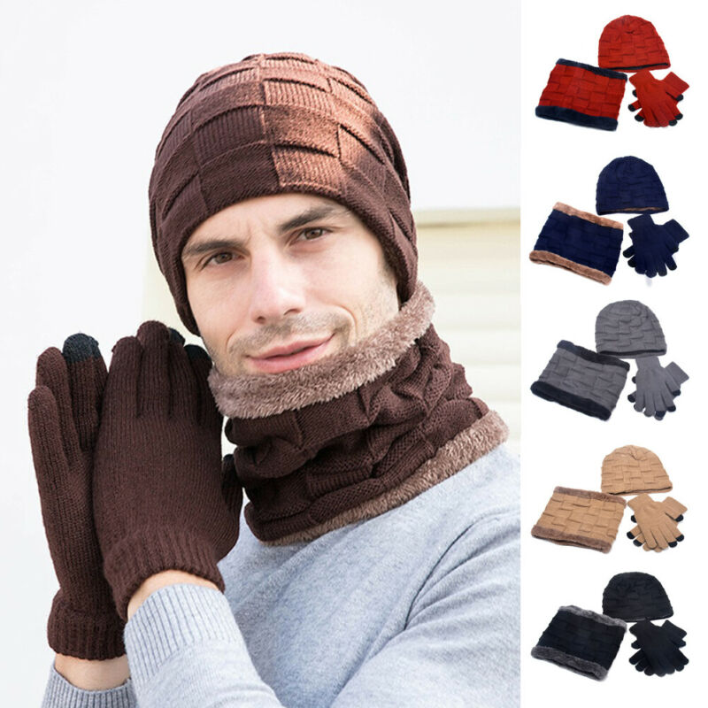 3pcs Mens Womens Knit Beanie Hat Winter Warm Ski Hat Scarves Gloves Hat Cap Set