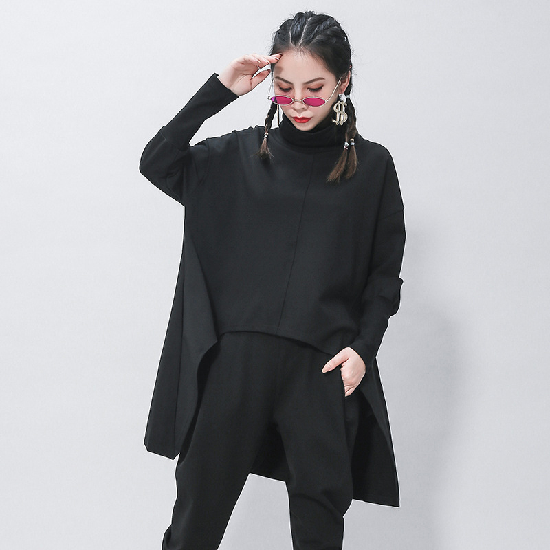 [EAM] Loose Fit Black Irregular Sweatshirt New Turtleneck Long Sleeve Women Big Size Fashion Tide Spring Autumn 2020 1Z320 3