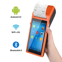 Mobile handheld Android PDA pos terminal 3G wireless Wifi Bluetooth pda with 58mm Thermal printer 5.5 touch screen android 6.0