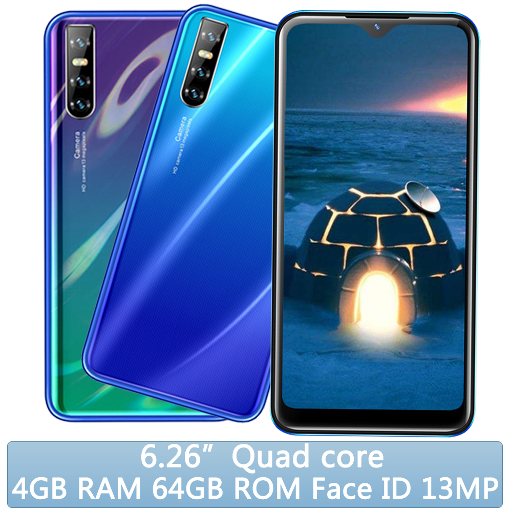 Мобильный телефон 8A, распознавание лица, 6,26 дюйма, разблокированный экран Waterdrop, 4 Гб ОЗУ, 64 Гб ПЗУ, оригинальный смартфон Android мобильный телеф...