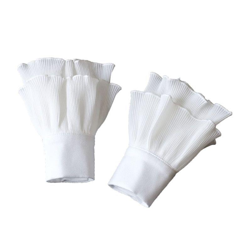Women Layered Striped Horn Cuff Agaric Ruffles Wrinkled Fake Sleeve Wrist Warmer