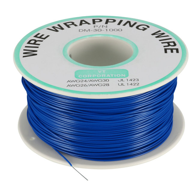 Electric Wire OD 200M 250M 0.58mm Wrapping Wire Tin Plated Copper Wire PCB Solder Wires Cable P/N DM-30-1000 30 AWG 1