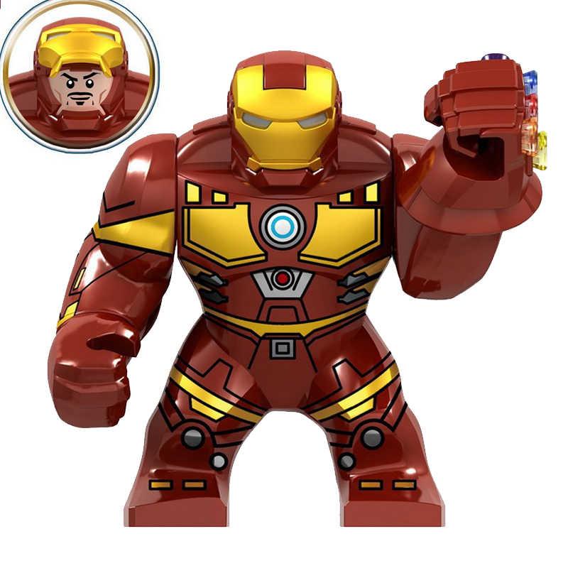 Marvel superbohaterowie duży rozmiar Iron Man z rękawicą Hulk Thanos Spider-Man figurki bloki budowlane cegły zabawki dla dzieci