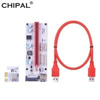 CHIPAL-Tarjeta elevadora VER008S PCI-E, extensor de adaptador PCIE Express de 1x a 16x, Cable USB 0,6 de 3,0 M, Cable de alimentación de 15 pines SATA de 4 pines y 6 pines