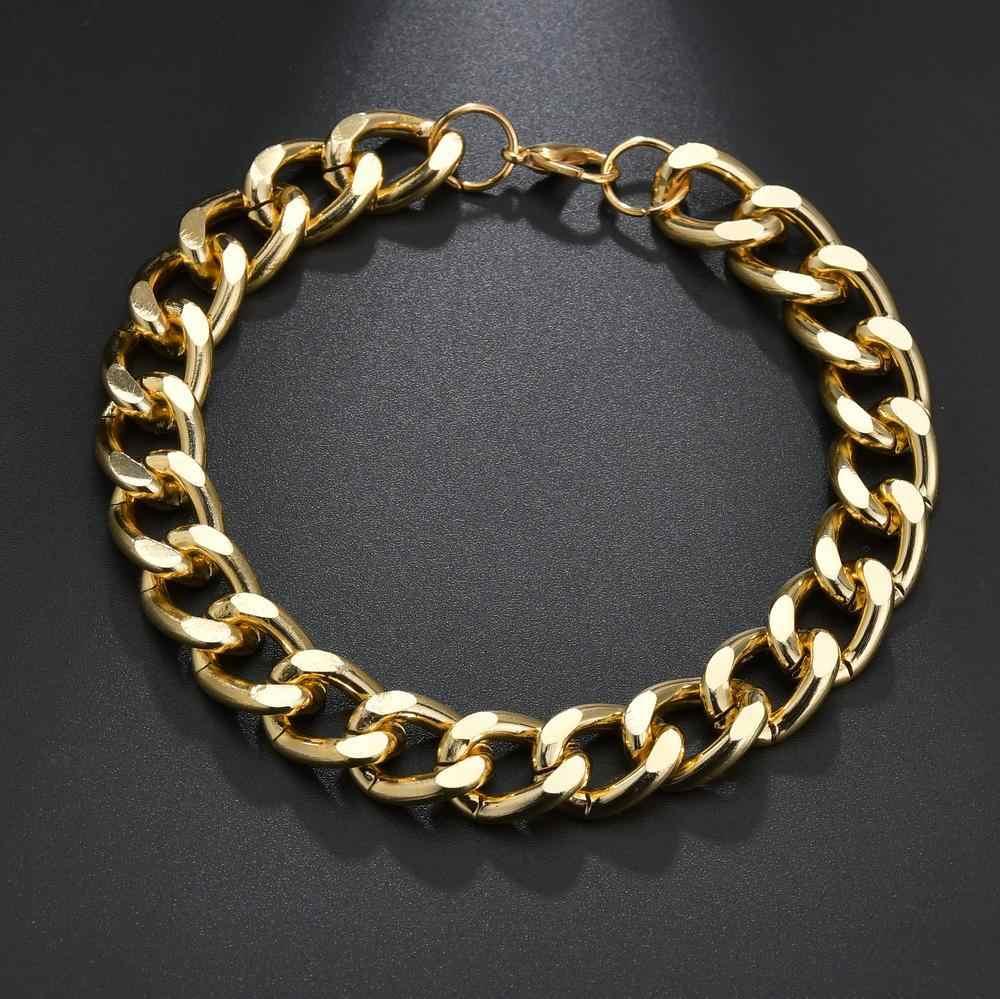 パンクキューバチョーカー襟声明ゴールド色 5 スタイル分厚い厚い鎖骨の女性のジュエリー