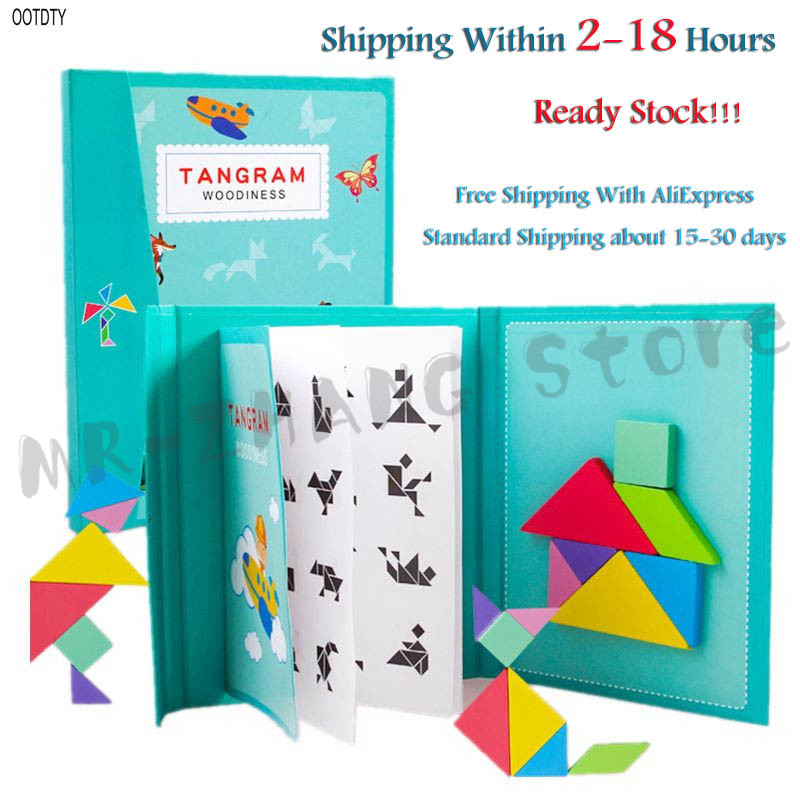 Ootdty 96 quebra-cabeças tangram magnético crianças brinquedos montessori educacional livro mágico terno pais família ambiental montar jogos