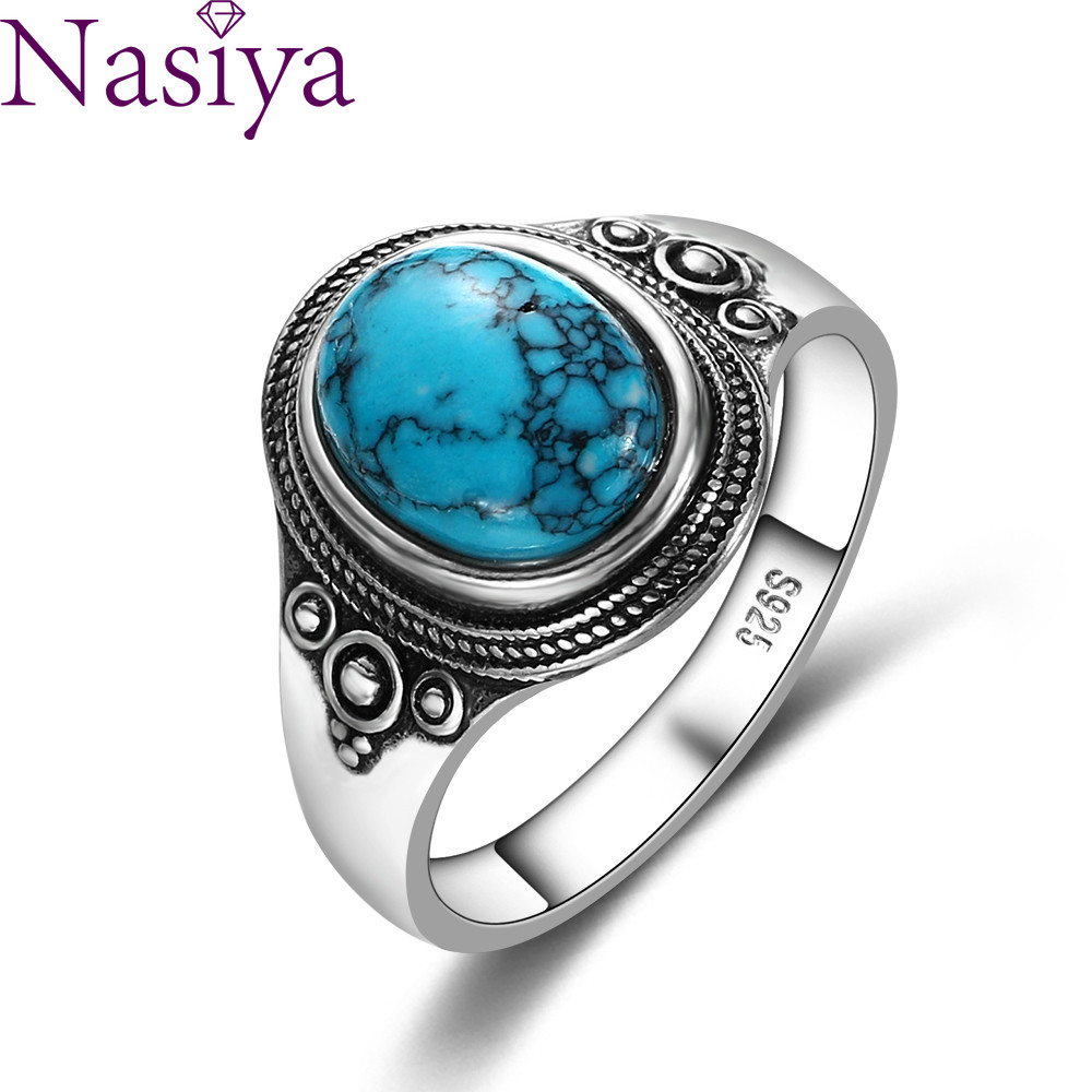 Natural 8x10MM Turquoise Women's Rings 925 Silver Gemstone Jewelry Party Anniversary Birthday Gift Daily Life(China)
