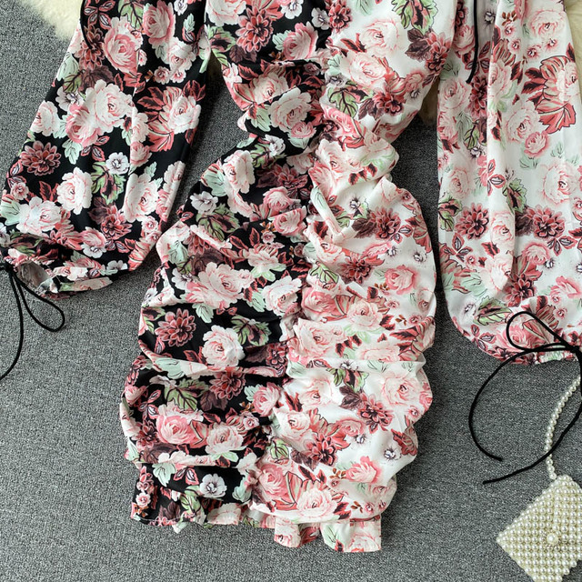 Spring Summer Long Sleeves Women Floral Dress Fold Mini Sexy  Vestidos Elegantes Slim Dress V Neck Lantern Sleeve Short Dress 3