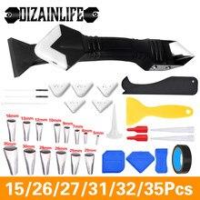 Outil à main en acier inoxydable/plastique, ensemble d'outils pour enlever le mastic en Silicone, finition de calfeutrage, enlèvement de raclage lisse, 3/5 en 1