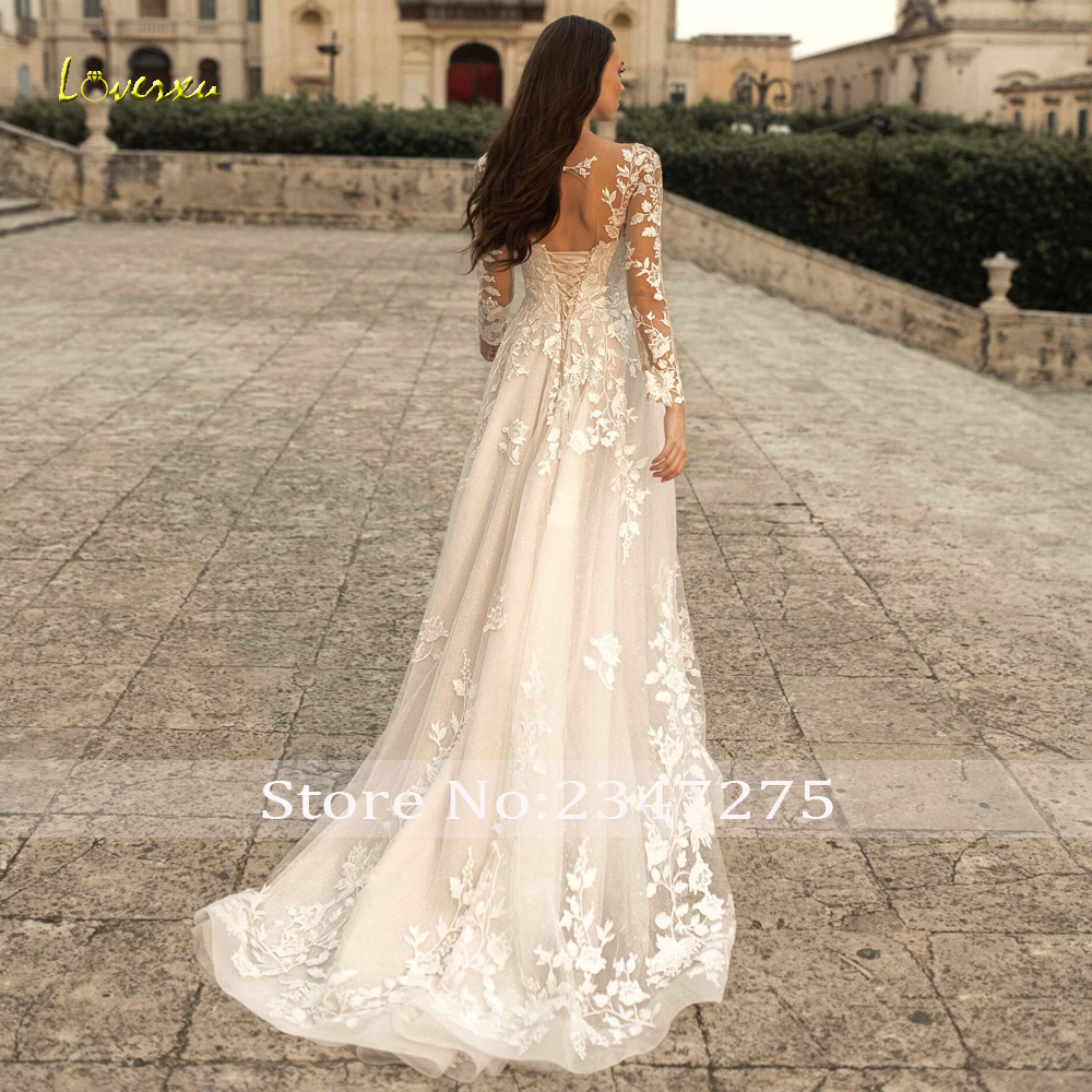 Loverxu Sexy Backless Long Sleeve Lace Vintage Wedding Dresses 18 Luxury  Scoop Neck Appliques Sweep Train A Line Bridal Gowns