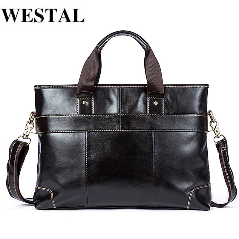 WESTAL Laptop Bag Briefcase Male Genuine Leather Handbags Tote Men Messenger Bags Business Briefcases Bag Men For Documents