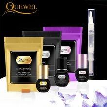 Quewel Eyelashes Extension Glue Set 5ml Lash Glue And 5g Gel Remover Pen 1 2 S Quick Drying Removing Individual Eyelash Tool