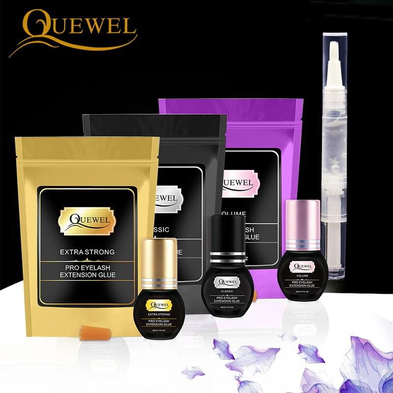 Quewel ml Lash Cílios Extension Glue Set 5g Gel Caneta Removedor de Cola E 5 1-2 S Rápida secagem Ferramenta de Remoção de Cílios Individuais