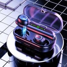 VOULAO Wireless Headphones Bluetooth 5.0 TWS Mini Earphones LED Displa