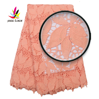 Embroidered Cord Lace Milk Silk Lace Fabrics Peach Color Guipure Lace Fabric with Stones for Women Dresses Bridal Lace XZ2882B