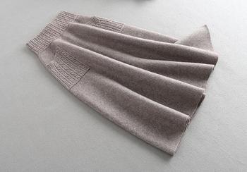 Sherhure 2019 High Waist Women Winter Wool Knitting Long Skirts Faldas Jupe Femme Saia Vintage Women Black Skirt With Pocket 3