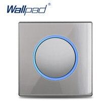 Wallpad-Interruptor de luz de pared de 1, 2, 3 y 4 entradas, cruce de pasos a través de cortina de vidrio gris, regulador de impulso, interruptor de 45A, indicador LED