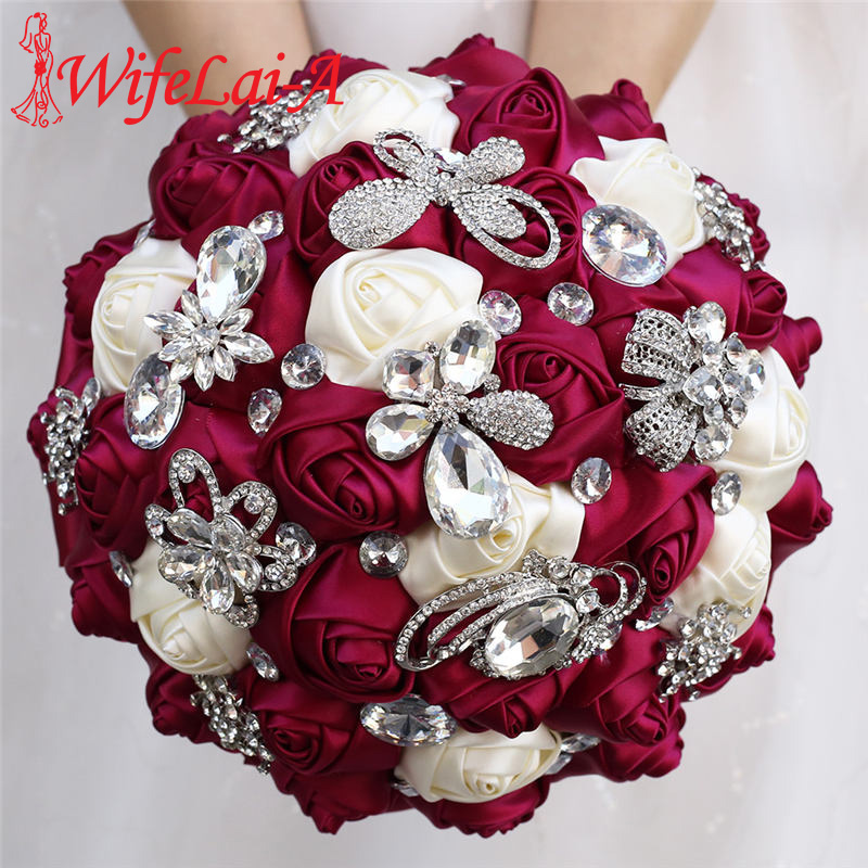Sauce Purple Wedding Bouquet Ivory Satin Rose Artificial Flowers Brooch Marriage Rhinestone Bridal Bridesmaid Bouquets W704