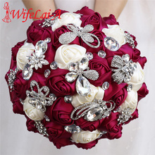 Sauce ramo morado de boda Rosa de satén de marfil flores artificiales broche boda diamantes de imitación Ramos nupciales para dama de honor W704