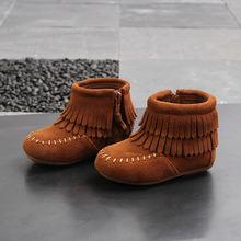 Ботильоны для девочек модная зимняя детская обувь из флока Плюшевые