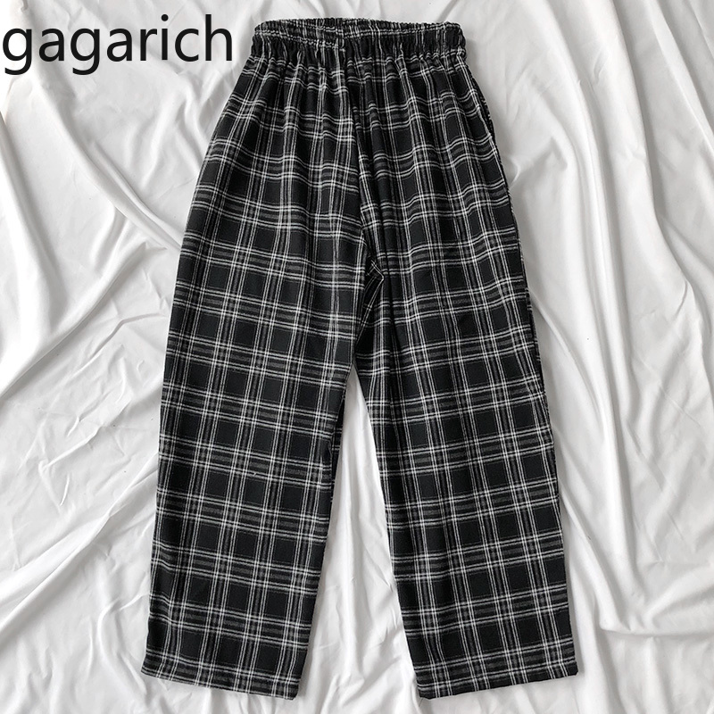 Gagarich Pants Women Retro Japanese Style Plaid Winter Thickened Elastic Waist Drawstring Casual Wide Leg Loose Pants 2020